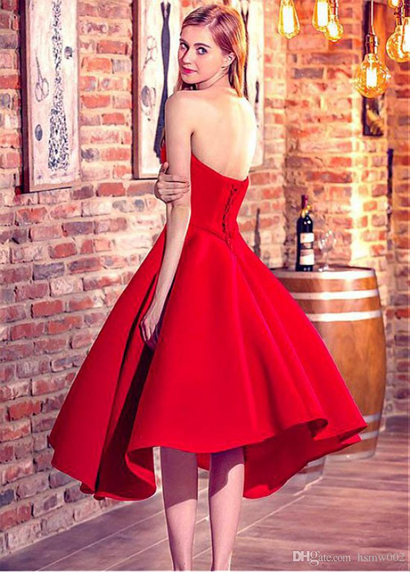 Girls Sweetheart Short Red Party Dresses Sexy Lace Up Prom Party Gowns Simple Prom dress robe de soiree vestido de festa