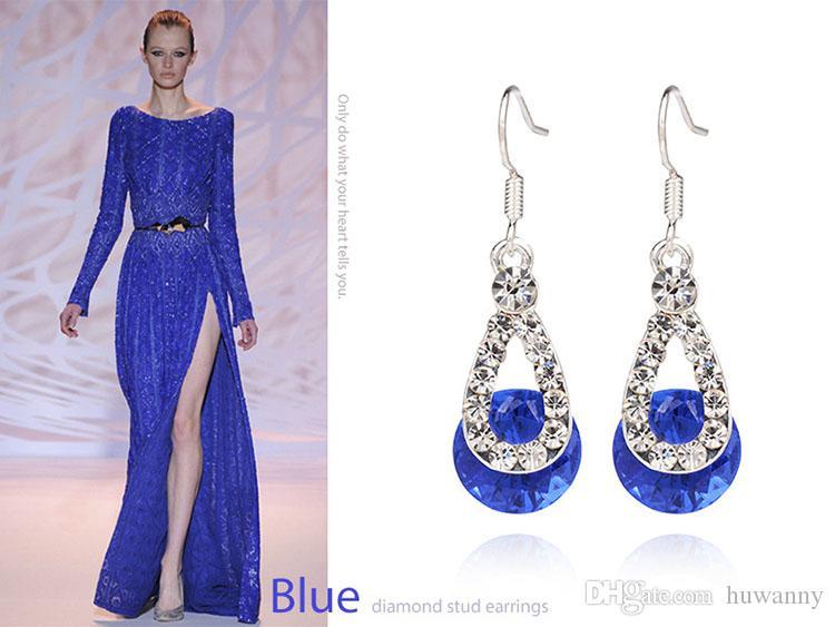 Earrings Crystal Drop Earrings Hot Sale Silver Dangle Chandelier Earring For Women Girl Party Fashion Jewelry Wholesale 0271WH