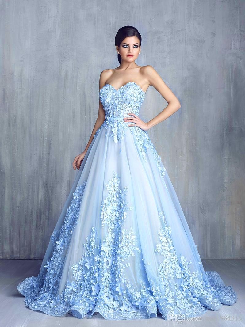 Light Blue Tüll Ballkleider Sweetblumenapplikationen Ärmel Zipper Backless Abendkleid Charming Sweep Zug formale Abendkleider