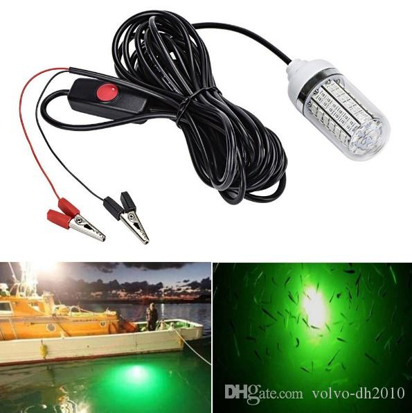 Fishing Light 4-Colors 12V 15W Deep Drop Underwater Light Fishing Lures Fish Finder Lamp Attracts Fish Prawns Squid Krill LLFA