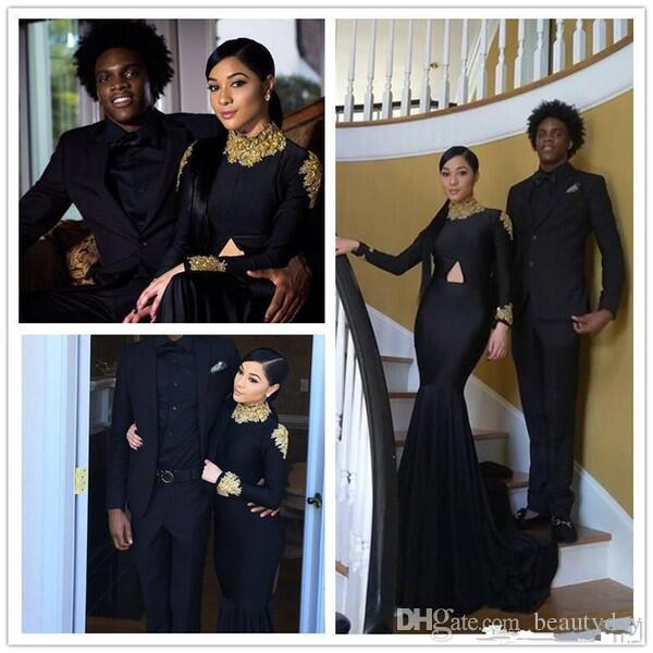 2019 Middle East Mermaid Prom Dresses con collo alto Manica lunga Dubai Arab Occasion Gold Lace Evening Wear Gowns Black Girl Couple Day