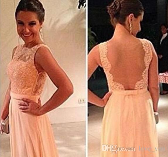 Wysokiej jakości U Open Back Drukuj Szyfonowa Koronka Długa Peach Kolor Druhna Dress Party Dress Custom