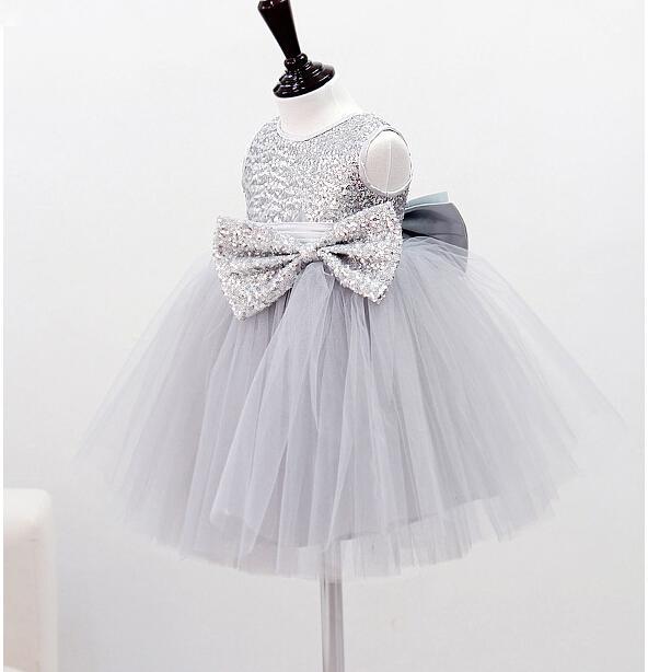 Girls Dresses Silver Gray Sequins Ball Gown Dress Flower Girls ...