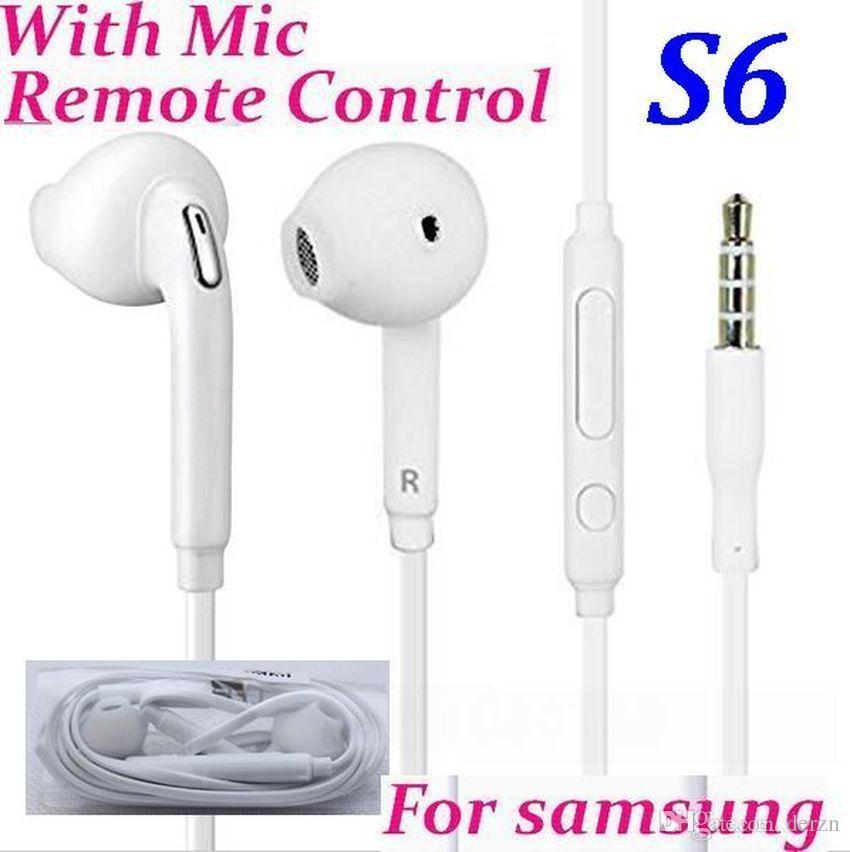 In-ear 3.5mm com controle de volume com microfone para samsung galaxy s6 borda s7 s8 s5 s4 nota 5 4 3