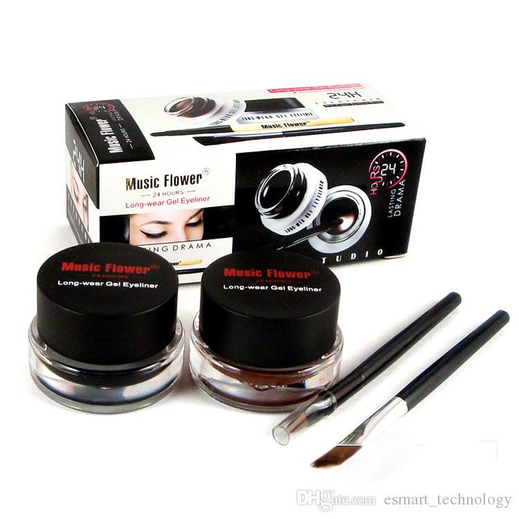 Music Flower Highlighter Makeup Black + Brown 2-color Gel Eyeliner Smudge- Proof & Water Proof Eye Liner Nake Make up With Brush M007