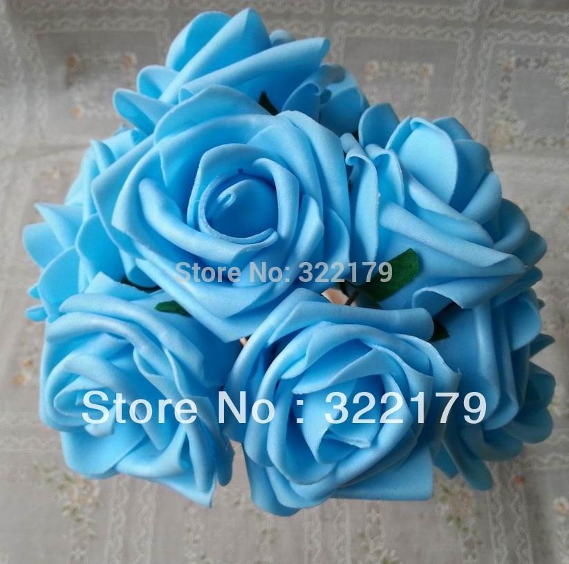 2018 100x Bulk Turquoise Blue Artificial Flowers Fake Roses For Wedding Arrangements Table Centerpiece Wholesale From Tsfj 4226