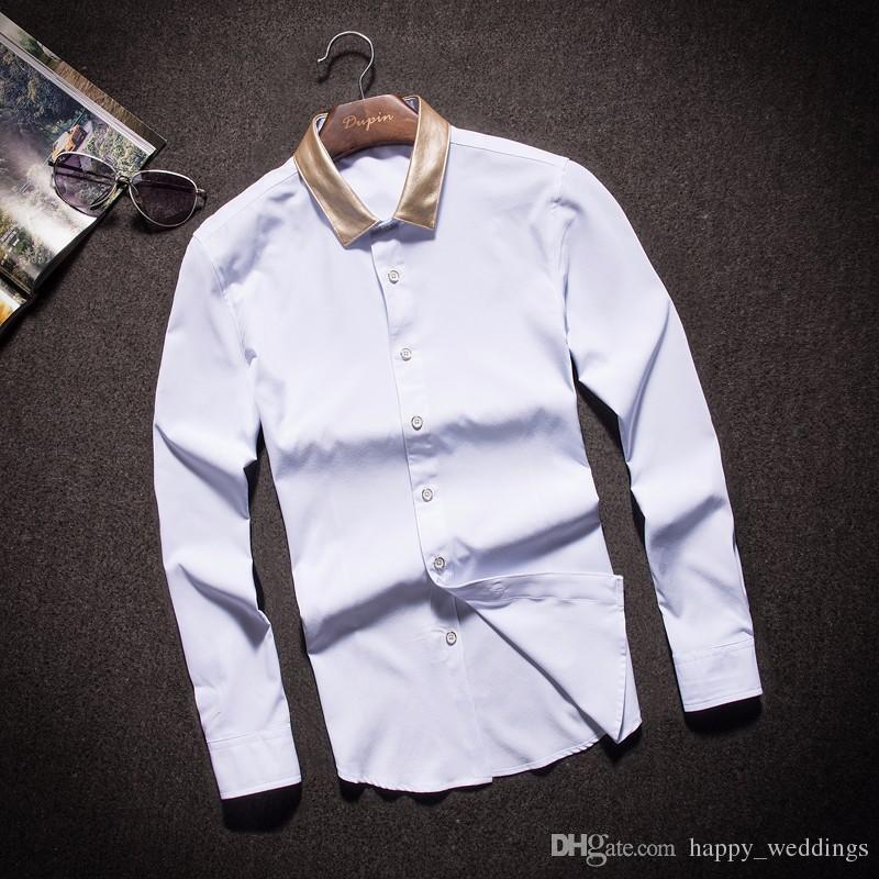 Goldfarbe-Kragen-Schwarz-weiße Mens-Kleid-Hemden für Geschäfts-lange Hülse Slim Fit 2018 Herbst-Männer der Art und Weise entwirft Kleidung