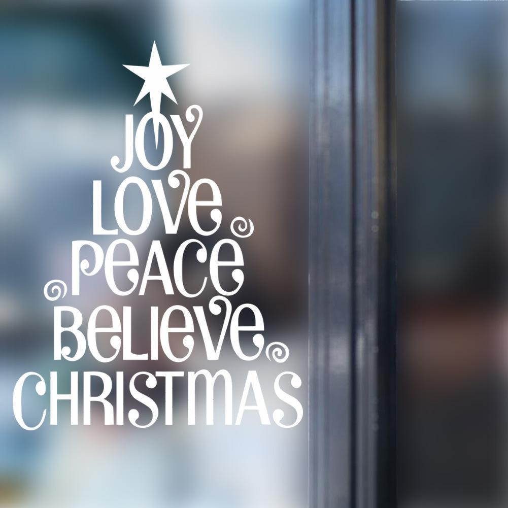 Joy Love Peace Believe Christmas Christmas Tree Wall Quote Decal Sticker Festival Home Lettering Wallpaper Art Poster