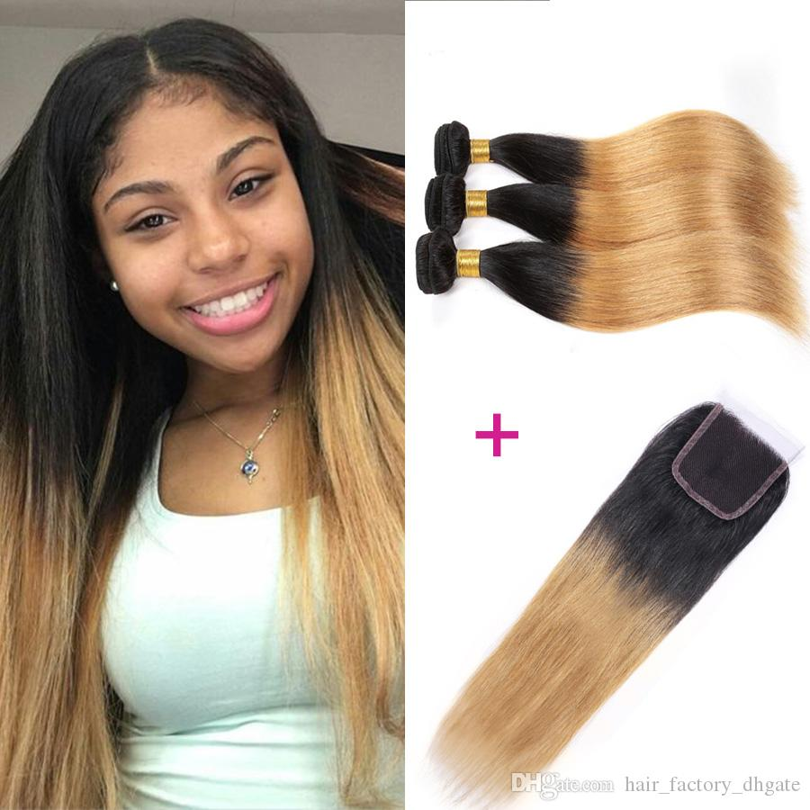 2017 Newest Blonde Ombre Hair Wefts With Closure Brazilian Virgin