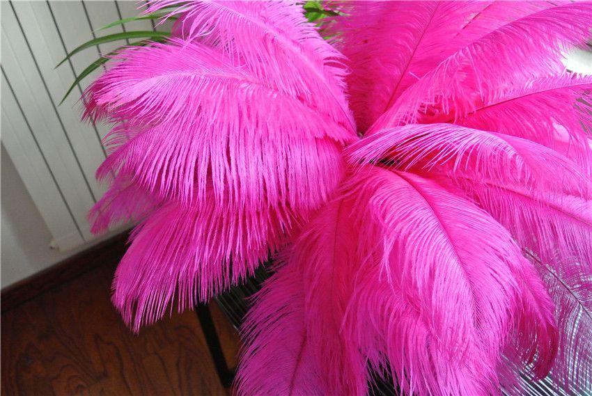Gratis verzending 100 stks / partij 14-16inch 35-40 cm Hot roze struisvogelveren pluimen fuchsia voor bruiloft centerpieces decor feestartikelen decor