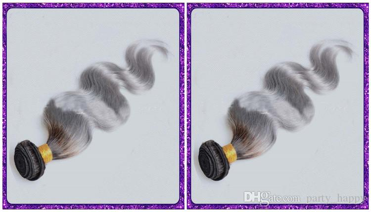 Avrupa Ve Amerika Birleşik Devletleri Gümüş Ombre Saç Uzantıları İnsan Saç Shade Gri Vücut Dalga Bir Ikame Gümüş Insan Saçı Örgü