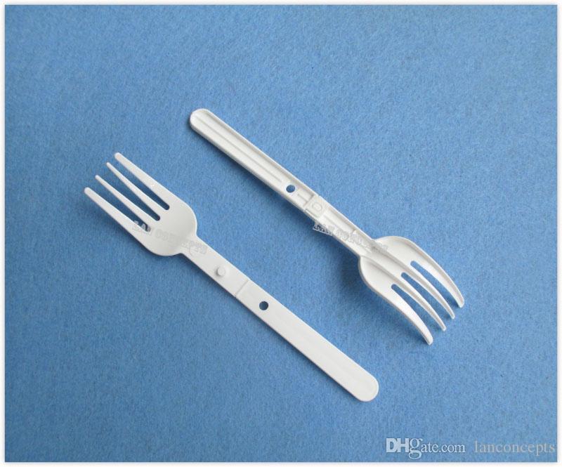 Ücretsiz kargo Plastik Katlanır Erişte Forks HDPE Gıda Çatal-beyaz 200 adet / grup OP906 12.8x2.2 cm