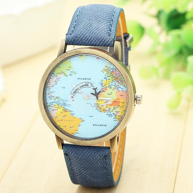 World map watch by plane watches women men denim fabric watch quartz world map watch by plane watches women men denim fabric watch quartz relojes mujer relogio feminino gift 1874 watches shop online watch shop from lu233945 gumiabroncs Gallery
