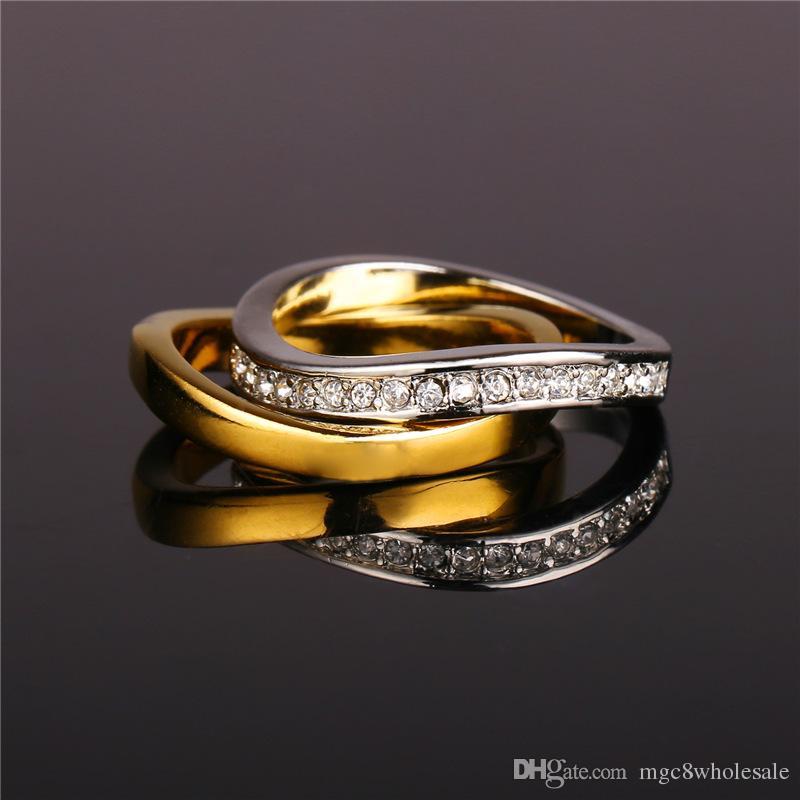 U7 Wedding Couple Rings For Men Women 18k Real Gold