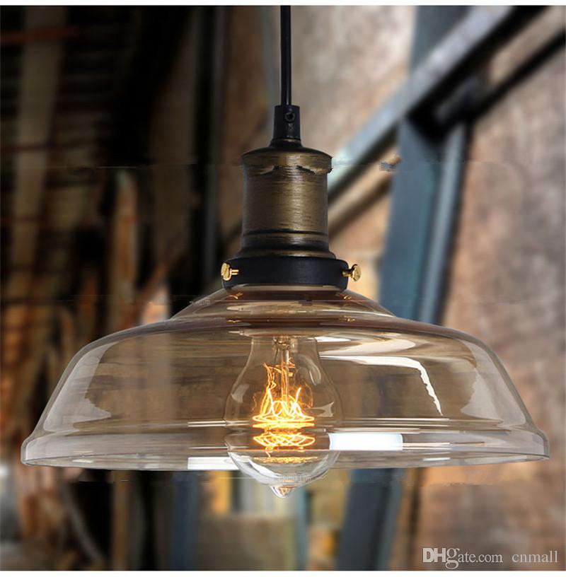 Discount Rh Loft Pendant Light Glass Bowl Hanging Lamp Vintage Edison Bulb Chandelier Industrial Led Restaurant Dining Room Lights 110v 240v Island
