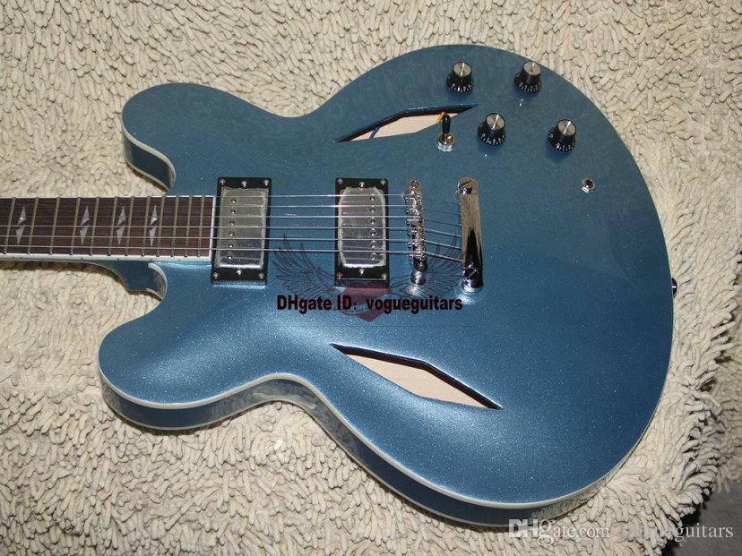 Özel Dave Grohl İmza Metalik mavi Caz Elektro Gitar Hollow Vücut Caz Elektro Gitar
