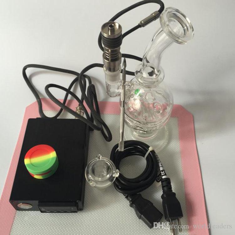 D Kit de prego e unhas com borbulhador pequeno Mini rigs de óleo de mão Bongos de vidro esmaltado artesanais com tigela de vidro Para Fumar livre
