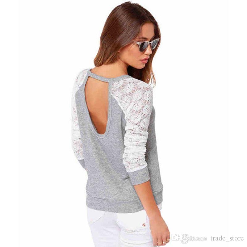 New Lace Blouse with Long Sleeve Sexy Autumn Korean O-neck Grey Crochet Backless Plus Size Women Clothes Top Blouse Casual Shirts B128