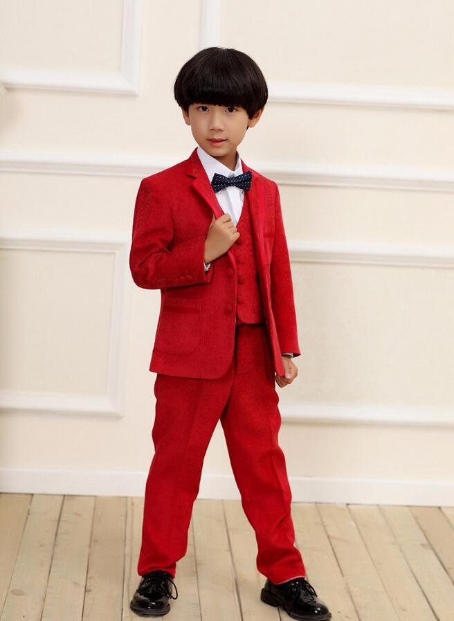 Red Three Piece Boys Suits Pure Color Little Boys Flower Girl Dress ...