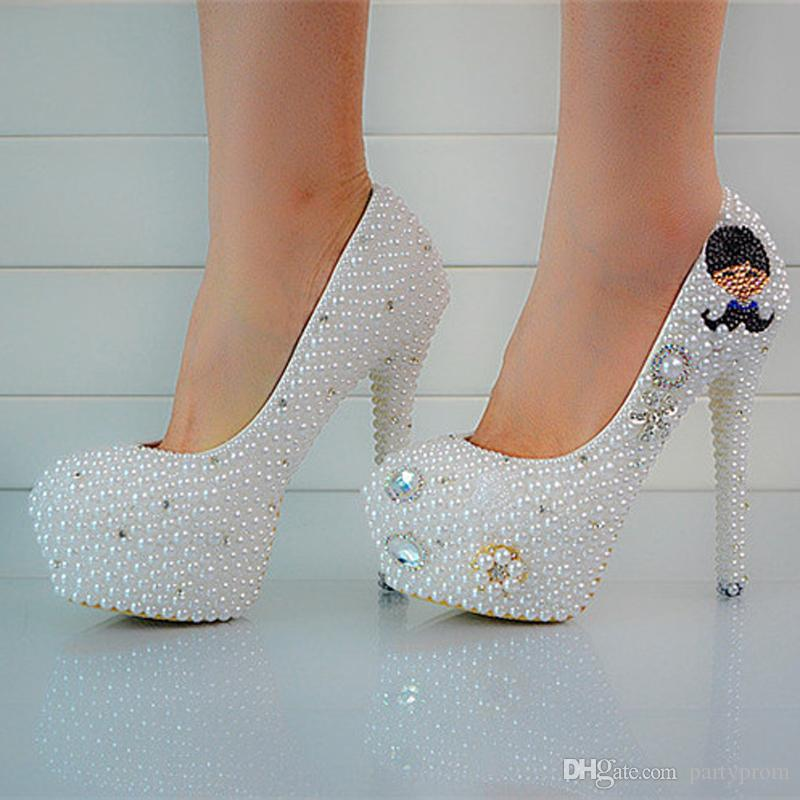 Luxury Pearl Wedding Dress Shoes Platform Round Toe Stiletto High Heels Prom Party Evening Bridal Accessories