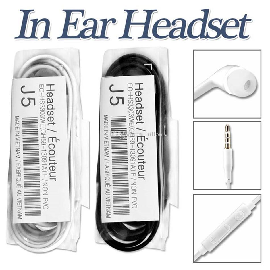 J5 için Mic ile Kulak Kulaklık Stereo Kulaklık ve Uzaktan Kulaklık için paket olmadan Galaxy S8 Not 8 S6 S5