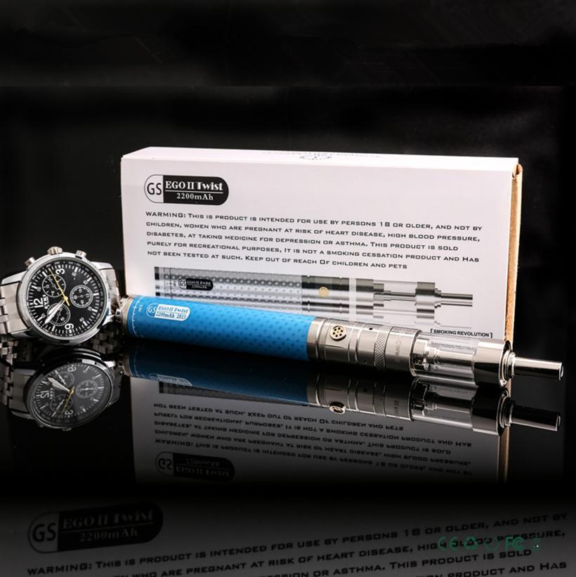 Starter kit di sigarette elettroniche 2200mah Vape Starter GS Ego II Twist con batteria a tensione variabile 2200 mAh V-Core III Serbatoi di vetro