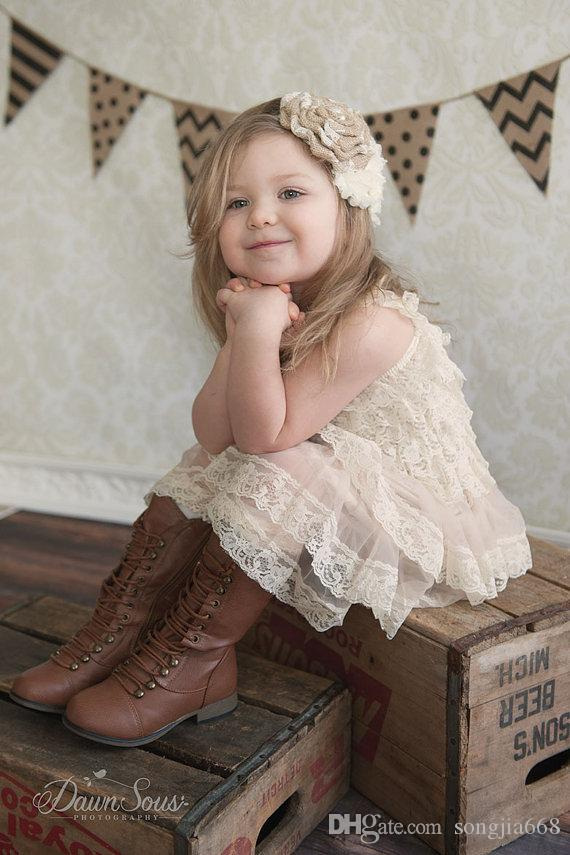 88bea7687 Rustic Flower Girl Dress Lace Pettidress Rustic Flower Girl Country Flower  Girl Dress Cream Wheat Cream Country Wedding-Vintage Wedding