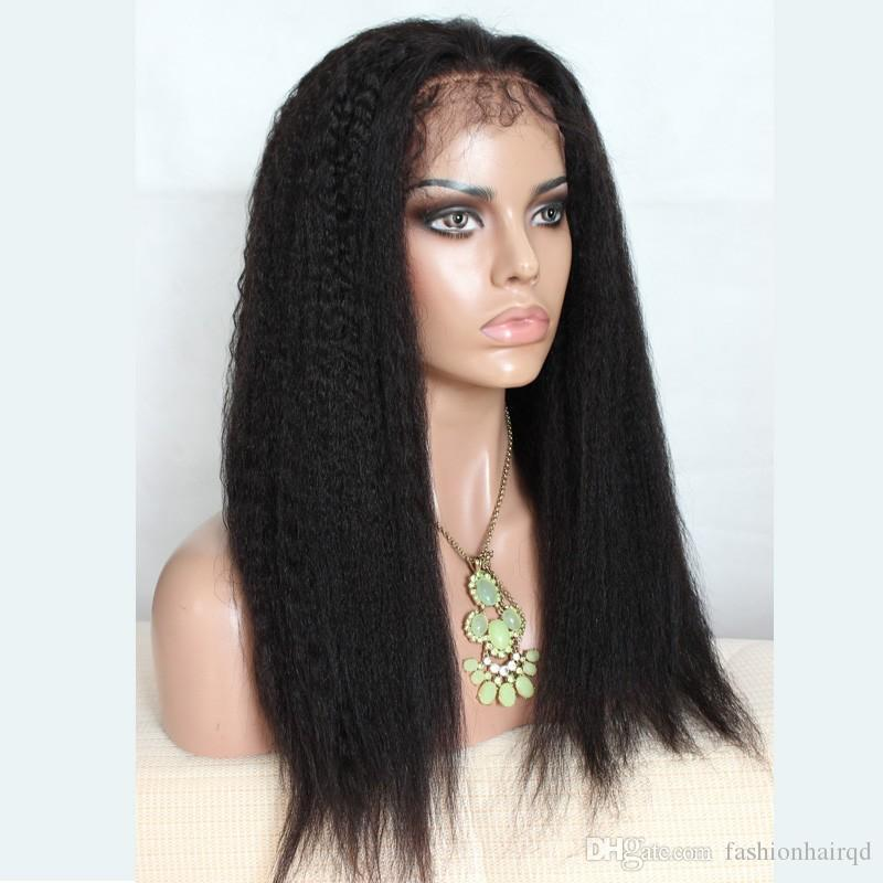 Kinky Straight Lace Front Human Hair Wigs For Black Women Indian Virgin Hair Full Lace Wigs With Baby Hair
