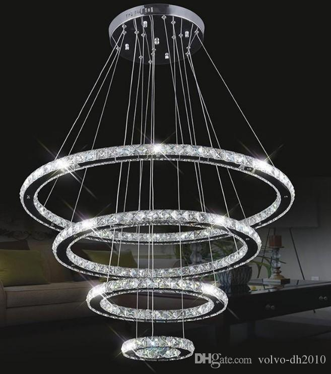 Large Modern Led Chandeliers K9 Crystal Suspension Fixtures For Living Dinning Room 4 Diamond Ring Re Lighting Circle Lamp Llfa Chandelier Vintage