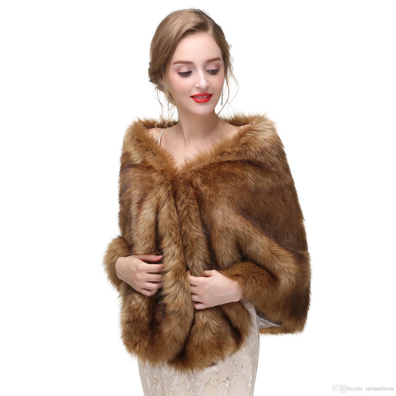 Brown Bridal Faux Fur Wrap Wedding Dress Fur Boleros Winter Bridal Jacket 2017 New Arrival Real