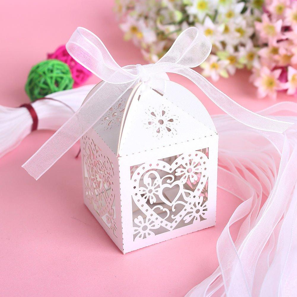 New Love Heart Laser Cut Candy Gift Boxes With Ribbon Wedding Party ...