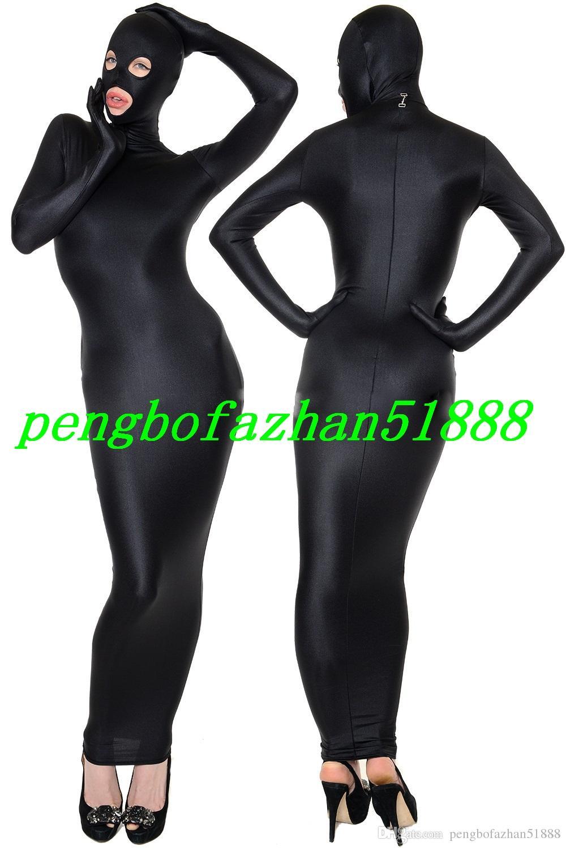 New Black Lycra Spandex Leichensäcke Anzug Kostüme Schlafsack Outfit Mit Offenen Augen Offenen Mund Halloween Kostüm Cosplay Anzug P022