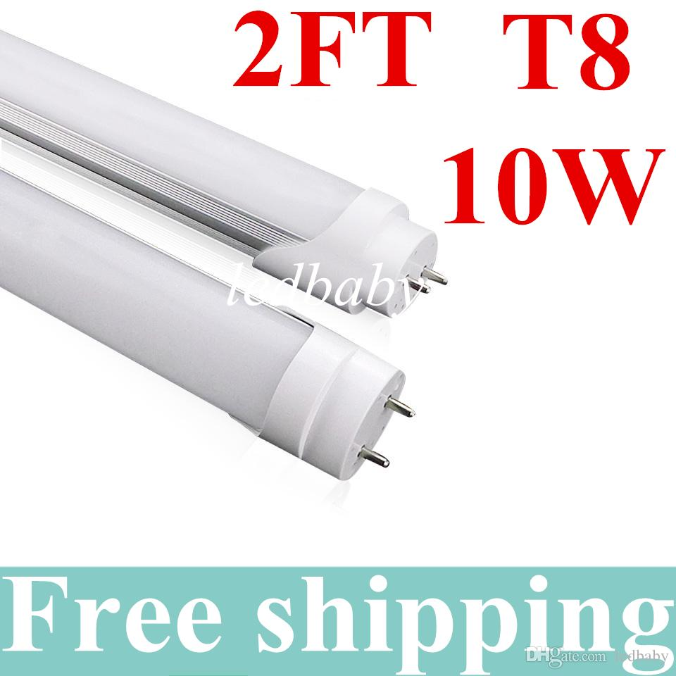 10W 0.6mT8 Led Tube Light 2 Ft 85-265V AC 3000-6500K LED Tube Lampadina Lampada Lampada fluorescente SMD2835 Bianco freddo / caldo