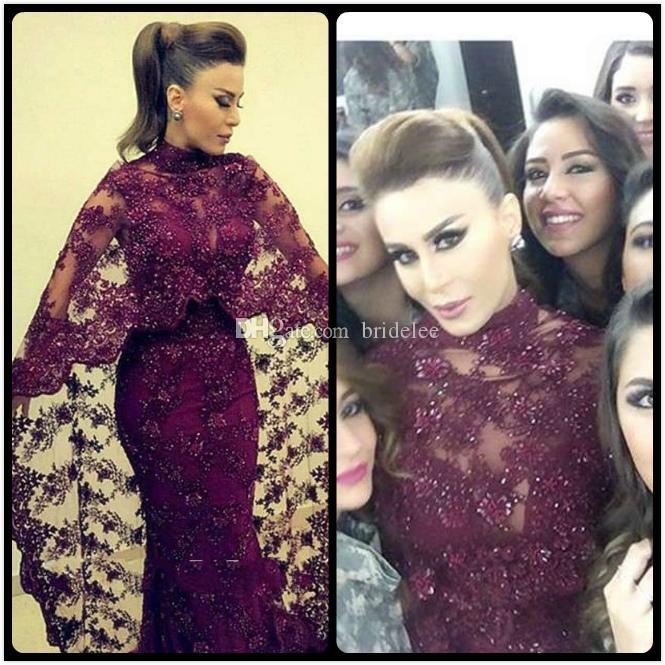 Abaya In Dubai 2016 Abiti da sera in pizzo viola Sirena Abiti da festa di celebrità arabe musulmane Nuovo vestito Kaftan yousef aljasmi