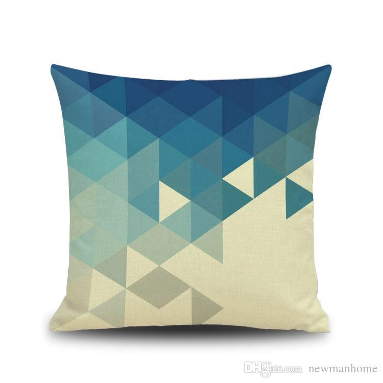 Nordic Pattern Blue Sea Tune Cushion Cover Changeable Square Pillow Cover 45cm*45cm Standard Size Bolster Cushion Case Modern Style Fashion