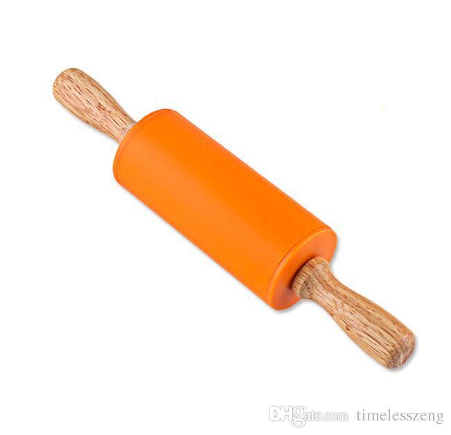 22.5 * 4.3CM 작은 크기의 어린이 나무 손수레 과자 굽는 도구 반죽 실리콘 롤링 스틱 어린이 장난감 롤링 핀