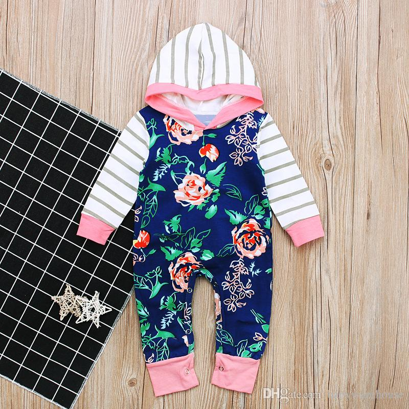 4fe32df1b755 Baby Romper 2018 Infant Baby Girl Rompers Stripe Floral Jumpsuit Spring  Autumn Long Sleeve Cotton Toddler Outfits Kids Clothes Baby Clothing Baby  Romper ...