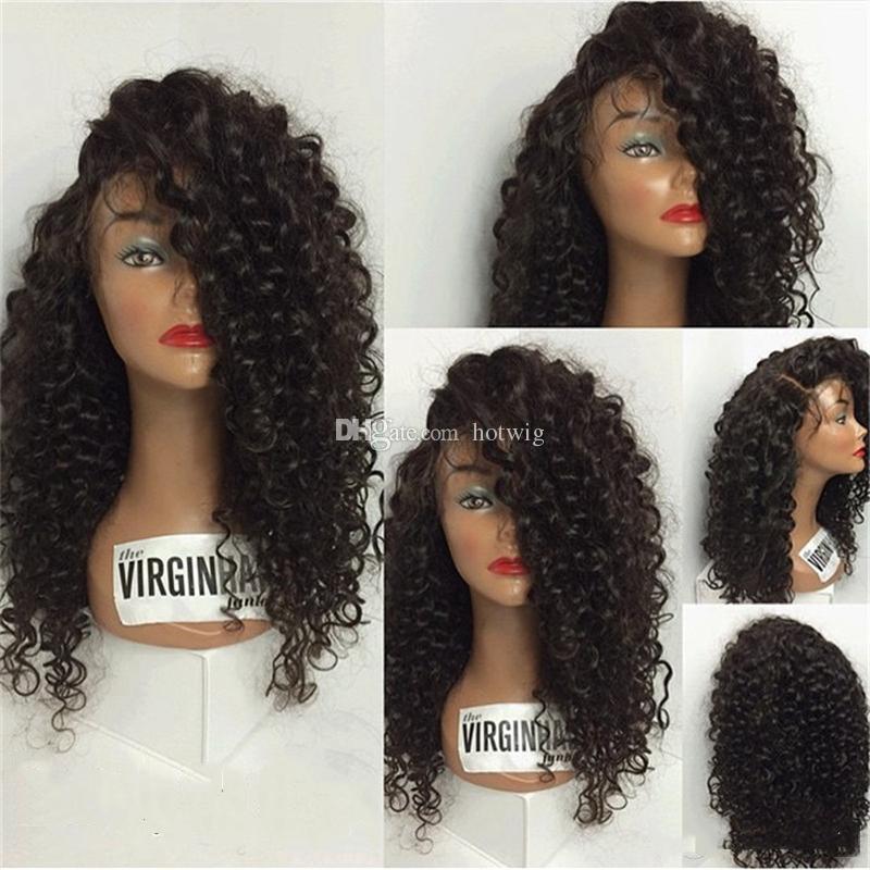 8A Parrucche capelli umani in pizzo anteriore Parrucche capelli umani in pizzo misto mongolo donne nere Parrucca riccia crespo 130% parrucche capelli ricci frontali