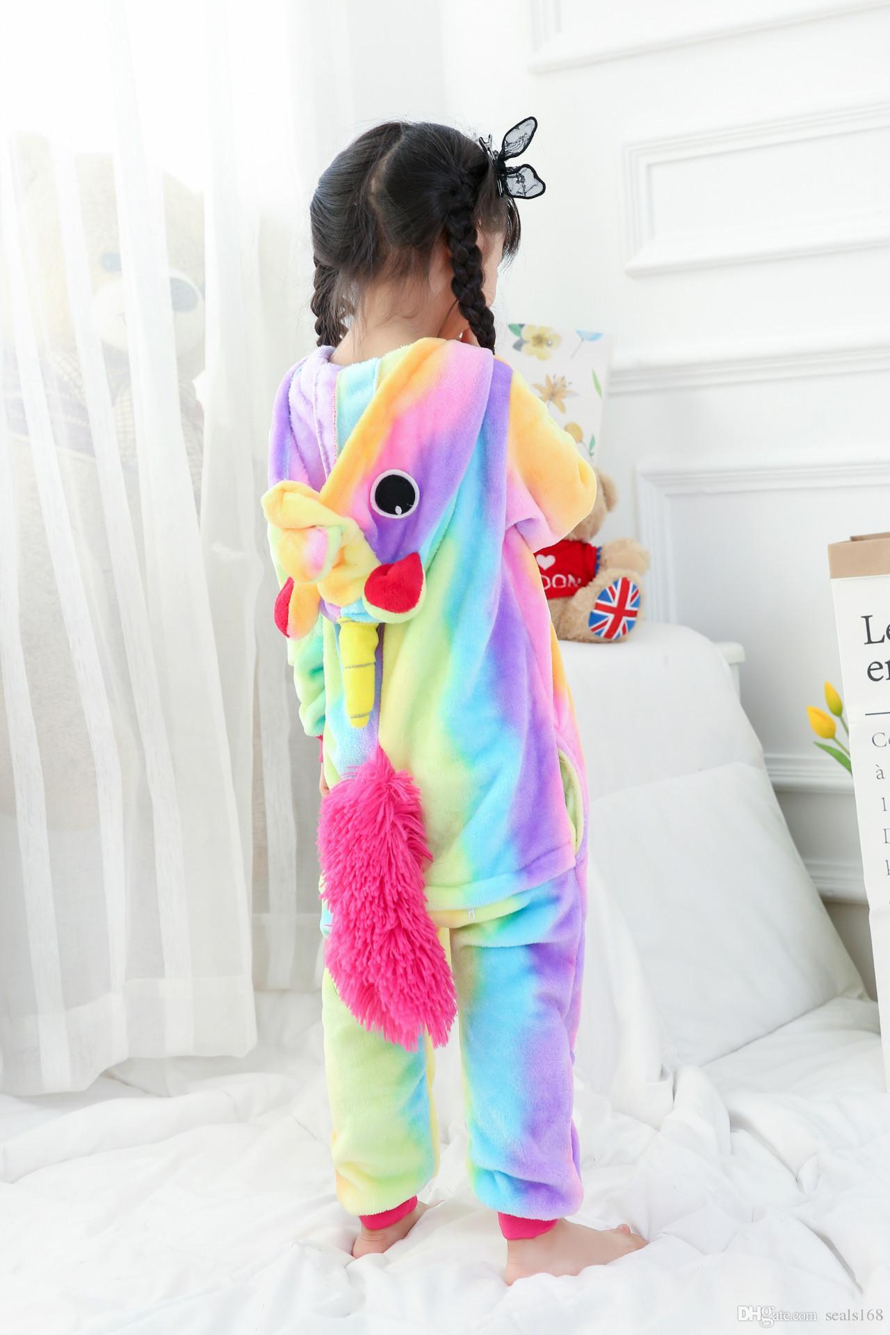 어린이 유니콘 바디 수트 잠옷 소년 소녀 동물 플란넬 코스프레 의상 잠옷 의류이지웨어 36 개 스타일 HH7-300