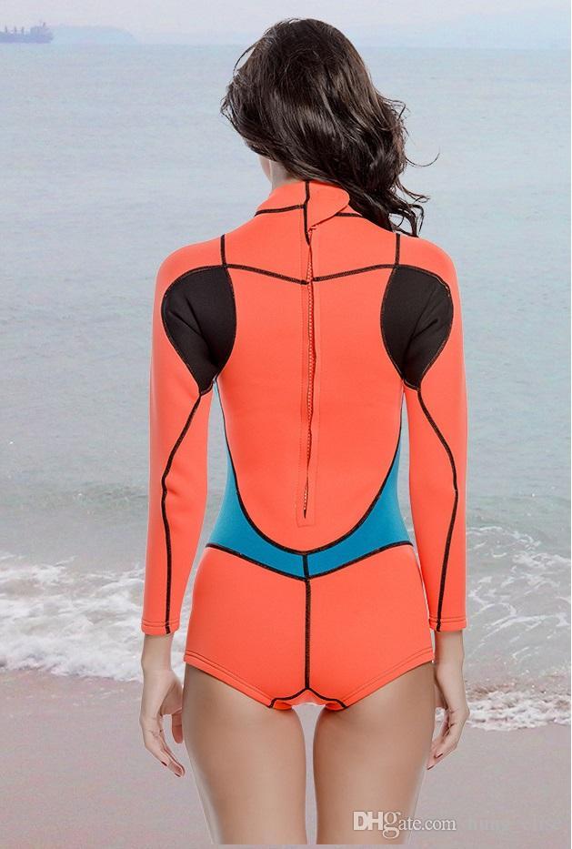 Épaissir manches longues d'une pièce 2MM kite surf en néoprène de plongée sous-marine wetsuits femmes isothermiques natation maillot de bain
