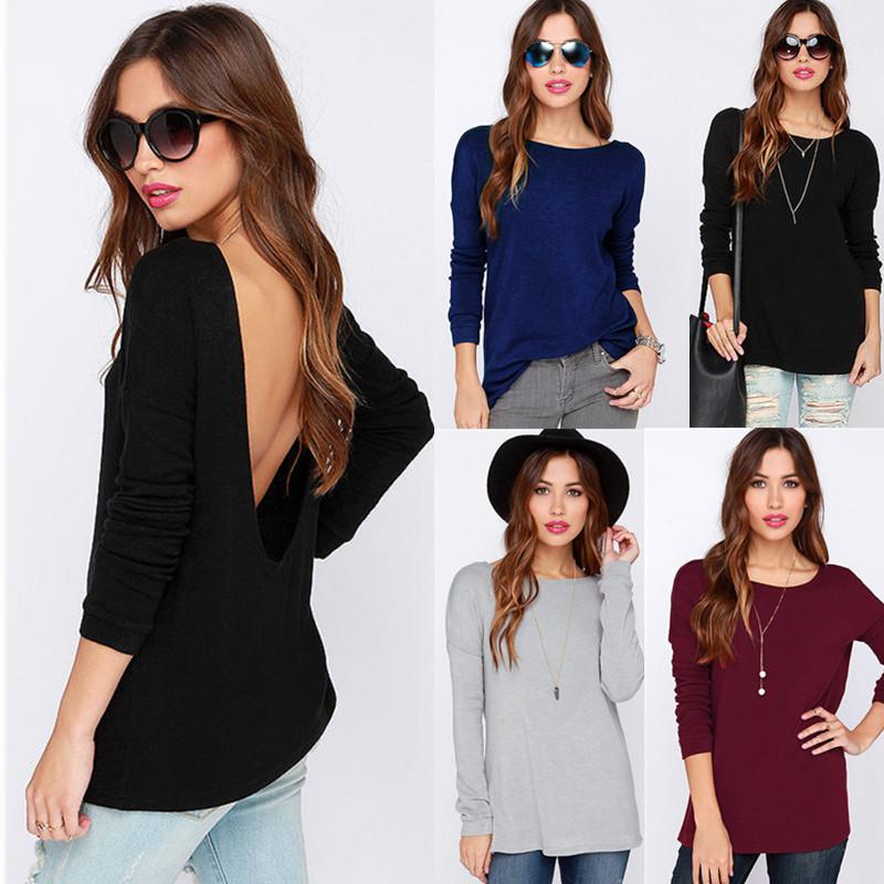 425e1ff1c01 2019 2016 Fashion Sexy Open Back Top Woman T Shirt Halter Hollow Backless  Loose Crew Neck T Shirt Women Long Sleeve Tee Shirts From Zhyzz