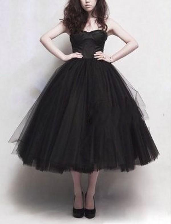 Black Tulle Tea length Prom Dresses Strapless Classic Tutu Skirts A Line Princess Party Dresses Cheap Formal Evening Gowns