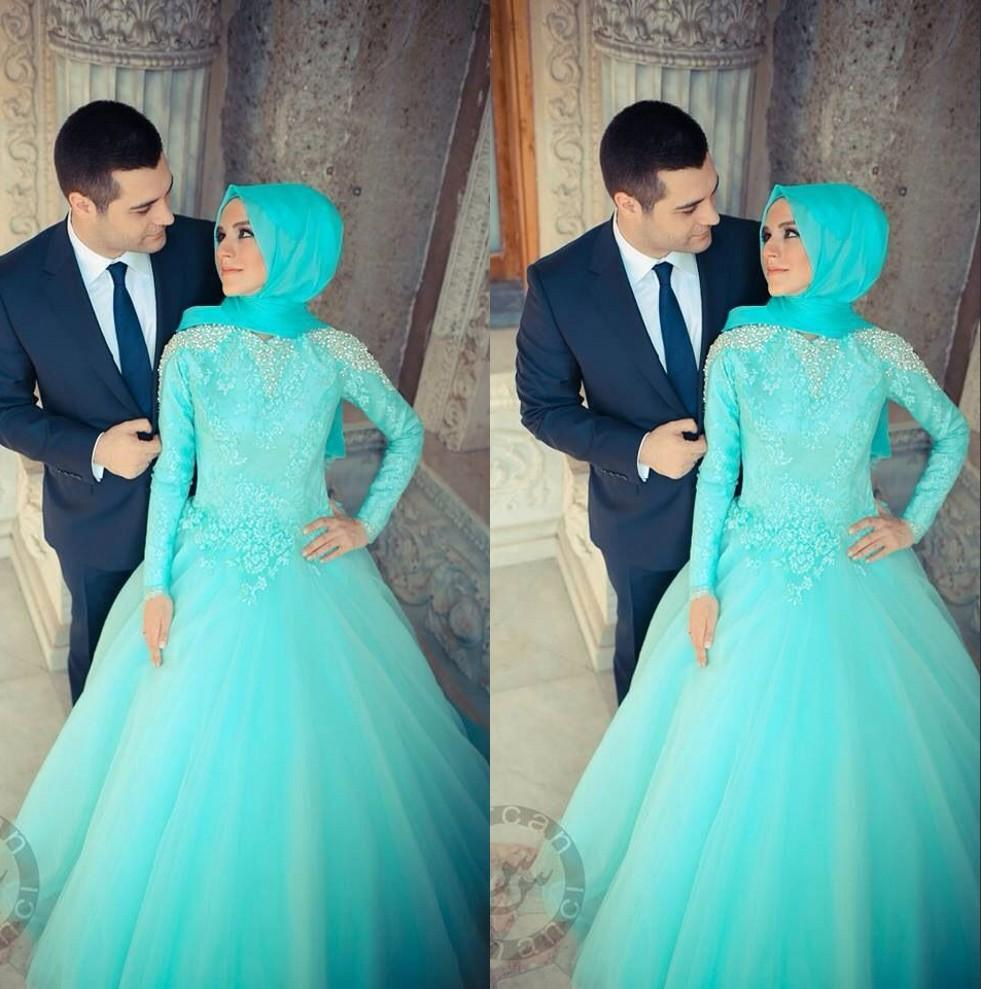 Discount Tulle A Line Muslim Wedding Dresses Light Blue Lace Long ...