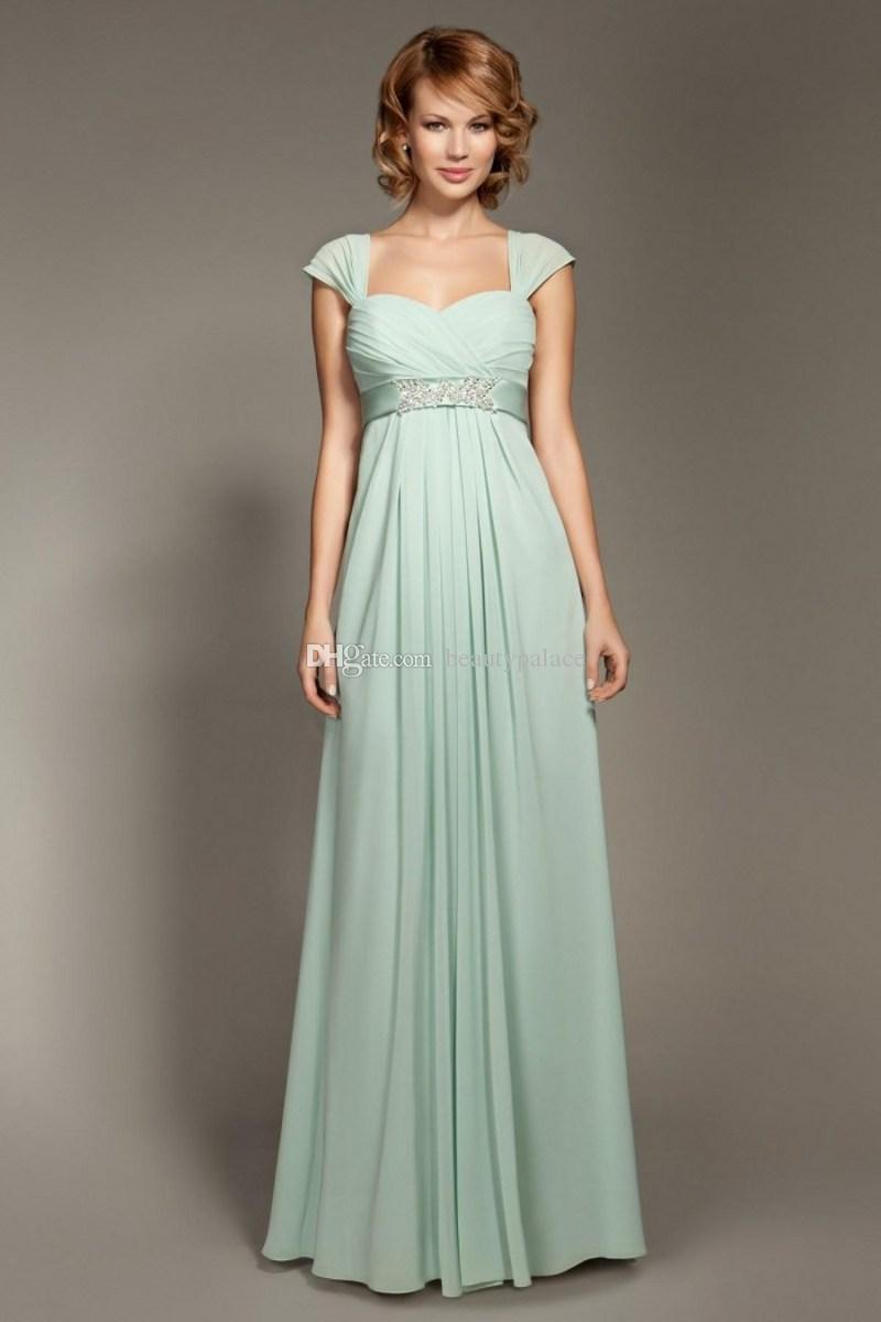 Cheap Chiffon Empire Waist Bridesmaid Dresses Sage Sweetheart Capped Ruffles Ribbon Beads A-Line Floor-Length Wedding Party Prom Gowns