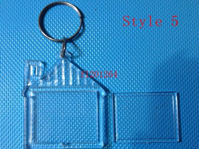 1000 unids / lote Envío Gratis Más Nuevo DIY Acrílico En Blanco Foto Llaveros En Forma Clave Cadenas Insertar Foto Plástico Llaveros