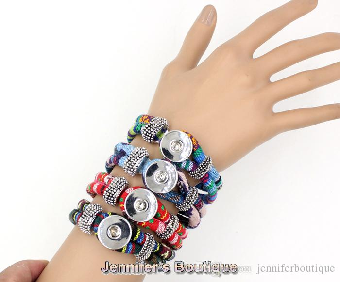 Wholesale New Arrival Classic Chunks Snaps Jewelry Bracelet,Ethnic Style Cotton Rope DIY Snaps Jewelry
