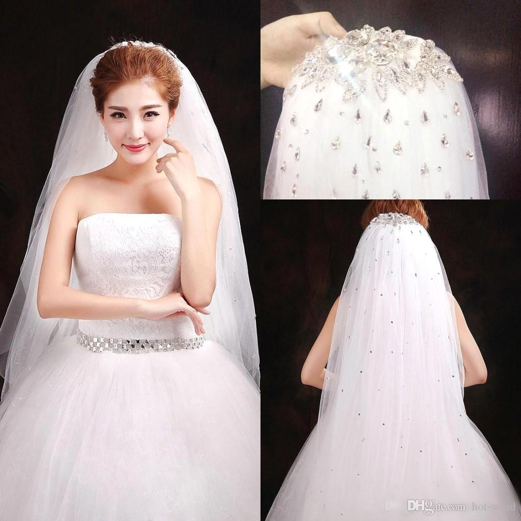 2017 High Quality Bridal Veils New Arrival Sequined Sparkly Crystals Tulle White Cheap Wedding Veil Accessories CPA302