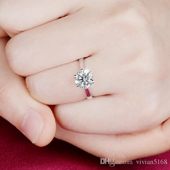 Никогда не исчезает 1carat 6claws большой имитация бриллиантовые кольца женщины 18K белое золото заполнены 925 серебро обручальное альянс США размер CZ обручальное кольцо