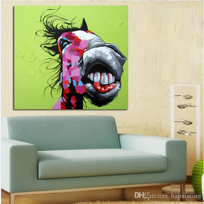 Hand Painted Wall Art Picture Oil Painting On Canvas High Quality Funny Horse Paintings Home Decoration Wall Pictures For Living Room