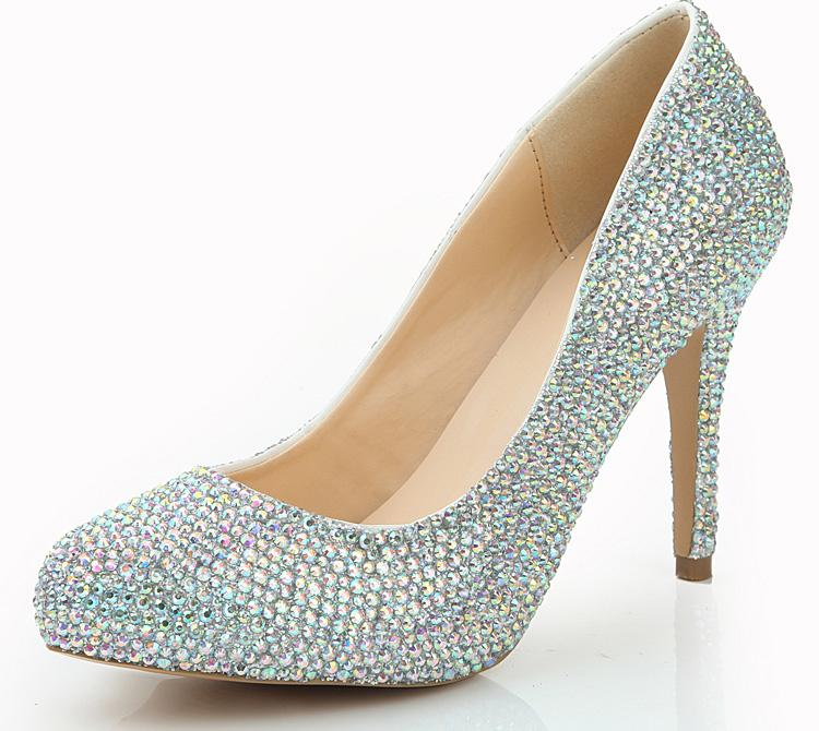Fahion Women Rhinestone Nightclub Shoes AB Color Crystal Party Pumps 4  Inches High Heel Wedding Shoes Party Prom Pumps Flat Bridal Shoe Ivory  Colored ... b7a003796738